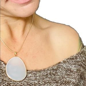Large Genuine  Clouded white stone Necklace